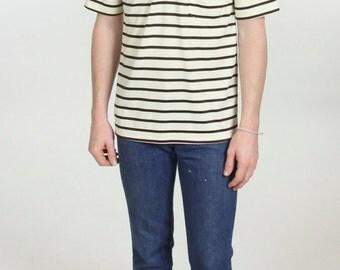 Men's Penguin Munsingwear Grand Slam Cream Brown Striped Collared Short Sleeve Vintage Polo Shirt Size Medium Dress Shirt Made in the USA