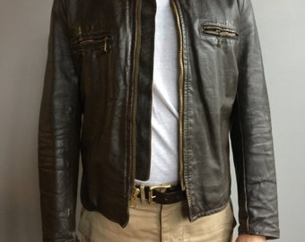 Brooks Brown Leather Cafe Racer Style Jacket with Zipper front.