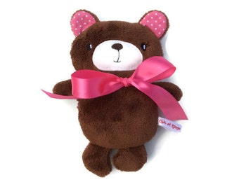 PROMO Teddy bear rattle, small Teddy bear fleece plush Brown, ears and Pink Ribbon, gift for girl, birthday gift