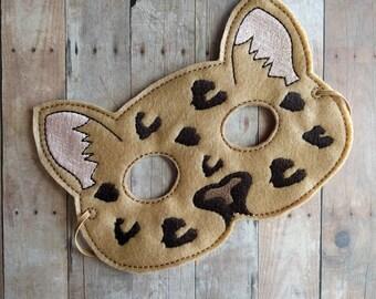 Leopard Felt Mask in 2 Sizes, Elastic Back, Light Brown Acrylic Felt, Cat Mask, Halloween Costume, Costume, Dress Up Leopard Mask