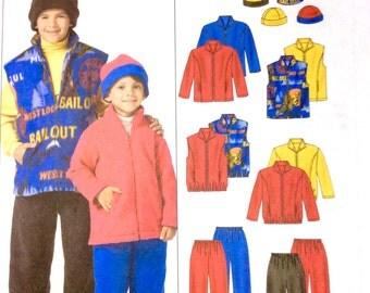 McCall's M4964, Children's and Boys' Jacket, Vest, Pants, Reversible Hat Pattern, Size Med, Lrg, Xlg, Uncut Pattern