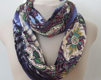 Blue Rayon Medallion Knit Infinity
