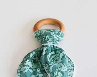 Natural Wood Teething Ring | Teal Floral