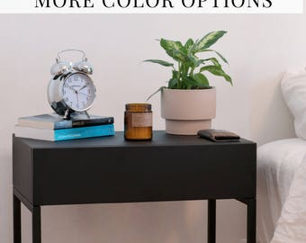 Bedside Table Corner Coffee Table Metal Side Table Midcentury Loft Furniture Minimalist Home Decor End Table Contemporary black white #PCD4