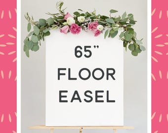 "65"" floor easel - natural wood easel large - wood easel for sign - wedding sign easel - large display easel"