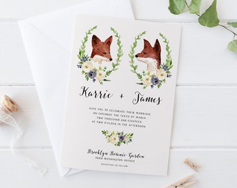 Printable Woodland Wedding Invitation Set,Romantic Portrait Bohemian Pink Navy Watercolor Wedding Suite,Green Leaves Floral Deer Fox Invites