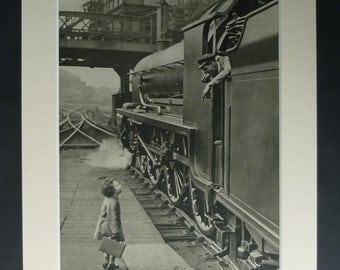 1940s Antique Steam Engine Print, Little Girl Traveler, Travel decor, Child Photography Gift, Available Framed, Childhood Art, Train Picture