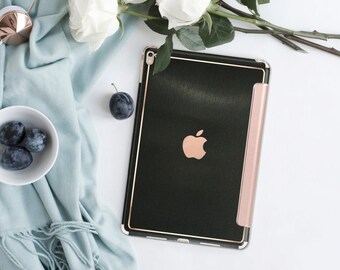 Platinum Edition Brushed Black with Rose Gold Detailing Hybrid Smart Cover Hard Case for the iPad Air 2, iPad mini 4 , iPad Pro