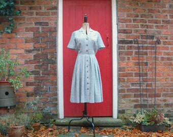 1940s grey check dress / 40s shirtwaist dress / mid century plaid day dress by Littler of Seattle