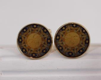 Isla del Sol Cuff Links 2-904 Islas de la Luz Sun blue yellow golden art mens jewelry celestial sunshine festive accessory for him