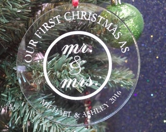 First Christmas as Mr. & Mrs. Personalized Christmas Ornament.  Great Wedding Gift!