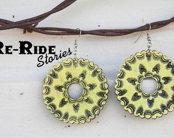 Tooled Leather Earrings- Yellow Mandala