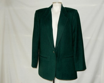 Sz 10 12 Wool Blazer - Forest Green - Sag Harbor - Career Professional Business Wear to Work Office - Size M L Medium Large