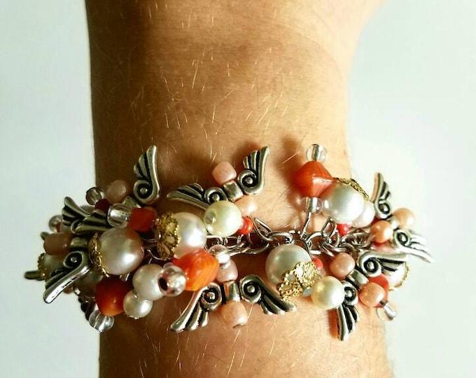 Orange Pink White Glass Bead Angel Wing Toggle Bracelet