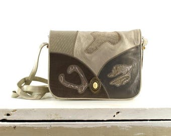 patchwork leather cross body bag / Sharif metallic leather purse / 1980s silver leather bag