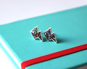 Lightening bolt stud earrings, Glitter earrings, Grunge earrings, Punk earrings, Grunge jewellery, Girls earrings, Women's earrings