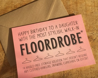 Happy Birthday Daughter Card / Daughter Card /  Card for Teenager / Funny card for teenager / birthday card for teen
