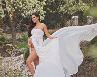 Marissa gown • Chiffon Maternity Gown • Sheer maternity gown • Maternity Dress • Maxi Dress • Senior photo shoot • Modeling