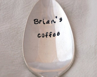 Stamped Coffee Spoon, Custom Name Spoon, Silverplate Spoon, Unique Gift, Coffee Lover, Coffee Gift, Friend Gift, Personalized Spoon