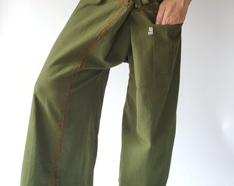 F80014 Dark Olive Pants, Handmade Thai Fisherman Pants Wide Leg pants, Wrap pants, Unisex pants