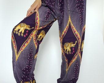 CH0001 Dark Purple Lady pants - bohemian clothing women yoga pants harem pants hippie trousers