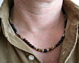 Black Onyx,Tiger Eye, Black Lace Agate, Silver Accents Men's Necklace, Men's Jewelry