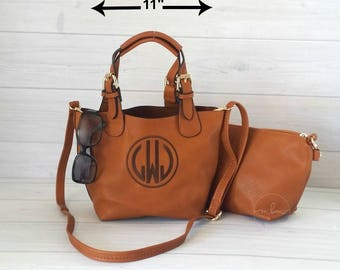 Monogram Purse - Monogrammed SMALL Brown Crossbody -Personalized Purse- Personalized Bag - Monogram Crossbody-2 bags in 1- Ships in 2 Weeks