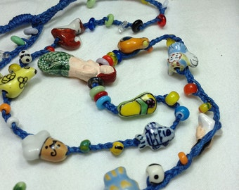 Necklace with porcelain beads