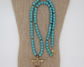 Steer Necklace, Long Turquoise Boho Necklace