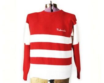 Vintage Nebraska Sweater, Husker, Cornhusker, vintage Nebraska, retro, sweater men's, Unl, Nebraska Lincoln, Nebraska top