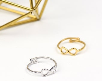 Sterling Silver Infinity Ring, 24k Gold Infinity Ring, Dainty Ring, Adjustable Ring, Sterling Silver Ring, Friendship ring, Bridesmaids ring