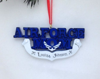FREE SHIPPING Air Force Mom Personalized Christmas Ornament / U.S. Air Force Ornament / Military Family Ornament / Armed Forces