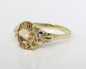 Oval engagement ring, Unique engagement ring, antique style ring, Vintage style Ring, oval solitaire ring, 14k gold Champagne quartz ring.