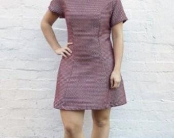 Diamond Geezer Lottie Dress UK size 12-14 - maroon burgundy white diamond cotton shift dress handmade by The Emperor's Old Clothes