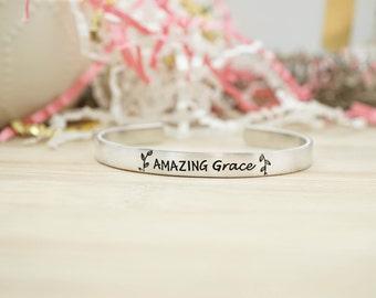 Amazing Grace Cuff Bracelet - Religious Jewelry - Religious Bracelet - Faith Jewelry - Faith Bracelet - Silver Hand Stamped Cuff
