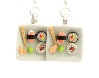 Sushi plate earrings dollhouse food Polymer clay miniature food jewelry