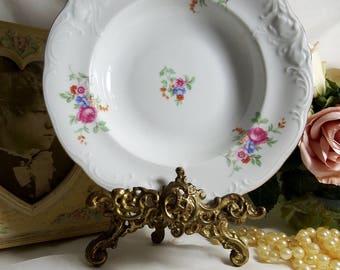 Vintage 1960s, Royal Kent, Poland, Rim Bowl, Multicolor Floral, Embossed, Scalloped Design with Gold Rim