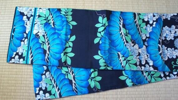 Vibrant antique fukuro obi blue green black, rare floral Fukuro obi, vintage silk obi belt mint green, turquoise blue obi, darari fukuro obi
