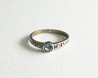Vintage Blue Rhinestone Ring Size 8 Aged Silver Toned Unsigned Vintage Jewelry