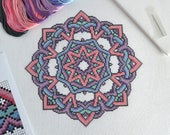 KIT Knotty Mandala Cross Stitch Kit - Handmade Celtic Knot Modern Cross Stitch - Complete Kit with 16 Count Aida and DMC Floss