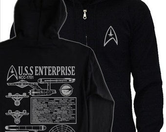 Star Trek NCC-1701 Original - S - 3XL HOODIE - James T Kirk starfleet blueprints