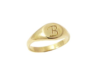 Pinky monogram ring. Personalized ring, Unisex ring, gift for him, personalized jewelry, Men ring, gold initial ring,gift for her(2139).