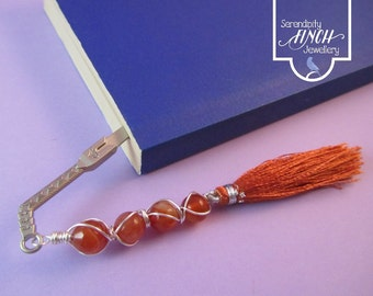 Sword Bookmark, Orange Agate Wire Wrapped Bookmark, Orange Bookmark, UK