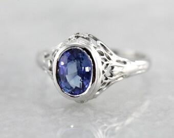 Bezel Set Sapphire Art Deco Filigree Engagement Ring KAF6JQ-P
