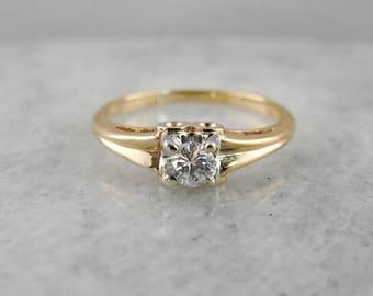 Vintage Diamond Solitaire, Vintage Engagement Ring, Yellow Gold Engagement Ring, Diamond Engagement Ring VJC445-P