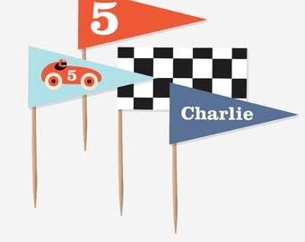 Vintage Race Car Cupcake Toppers (DIY Print Printables)
