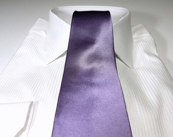 IRIS Purple Silk Solid Satin Tie