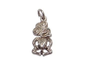 Maori Hei-Tiki Charm - Vintage Sterling New Zealand Idol - Silver Good Luck Symbol Travel Souvenir