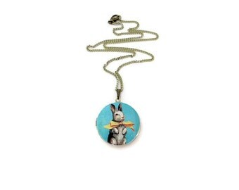 Rabbit Necklace/ Bunny Necklace/ Locket Necklace/ Bunny Locket Necklace/ Rabbit Locket Necklace/ Children Locket/ Kids Jewelry