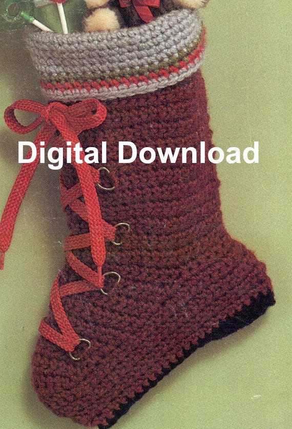 Crochet Christmas Stocking, Hiking Boot, Vintage Sock, Holiday Decorating Pattern, PDF Instant, Digital Download, Retro